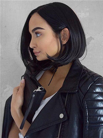 Short Off Black Bob Synthetic Lace Front Wig - FashionLoveHunter