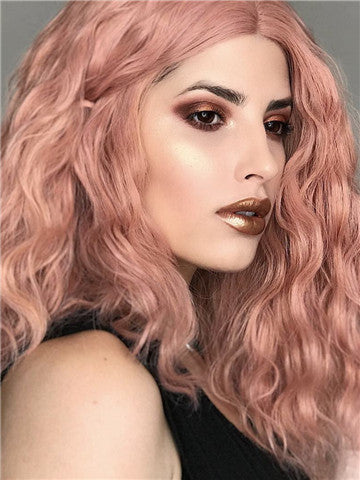 Short Peach Pink Kinky Curly Synthetic Lace Front Wig - FashionLoveHunter