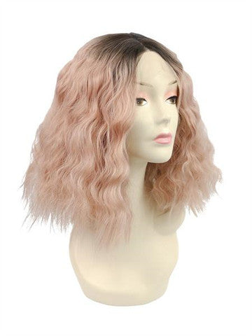 Short Peach Pink Ombre Bob Curly Synthetic Lace Front Wig - FashionLoveHunter