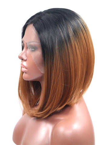 Short Peru Brown Ombre Bob Synthetic Lace Front Wig - FashionLoveHunter
