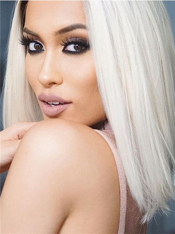 Short Platinum Blond Ombre Straight Synthetic Lace Front Wig - FashionLoveHunter