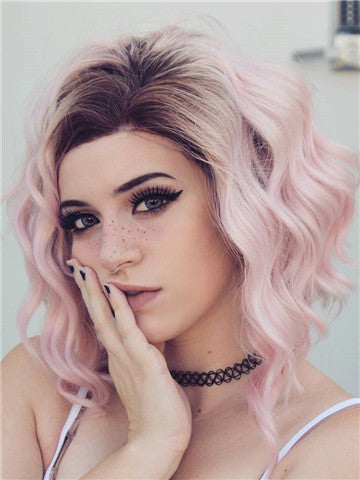Short Prunus Pink Ombre Synthetic Lace Front Wig - FashionLoveHunter