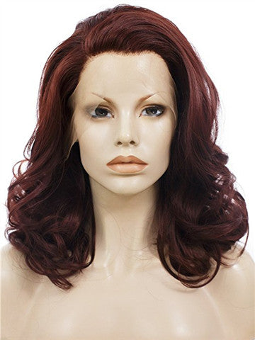 Short Reddish Brown Wavy Bob Synthetic Lace Front Wig - FashionLoveHunter