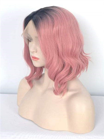 Short Rouge Pink Ombre Wavy Synthetic Lace Front Wig - FashionLoveHunter