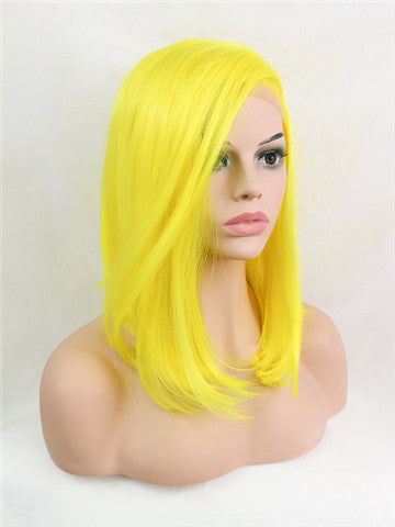 Short Scabish Lemon Yellow Synthetic Lace Front Wig - FashionLoveHunter