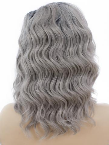 Short Stylish Silver Grey Ombre Wavy Synthetic Lace Front Wig - FashionLoveHunter