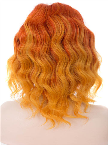 Short Tawny Daylily Ombre Flame Synthetic Lace Front Wig - FashionLoveHunter