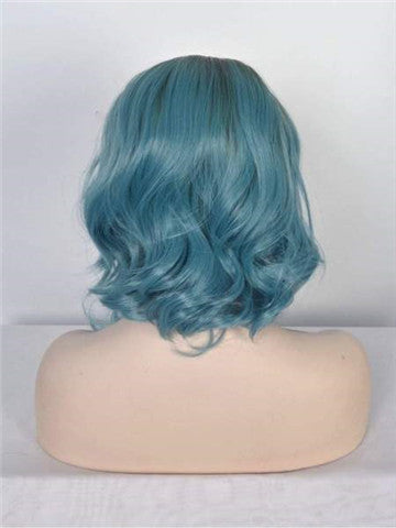 Short Teal Blue Ombre Bob Synthetic Lace Front Wig - FashionLoveHunter