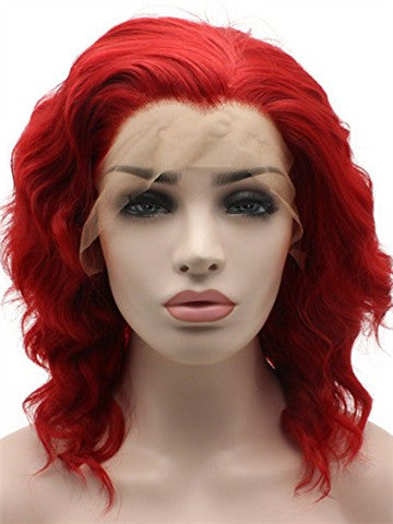 Short Triangled Cut Red Wavy Bob Synthetic Lace Front Wig - FashionLoveHunter