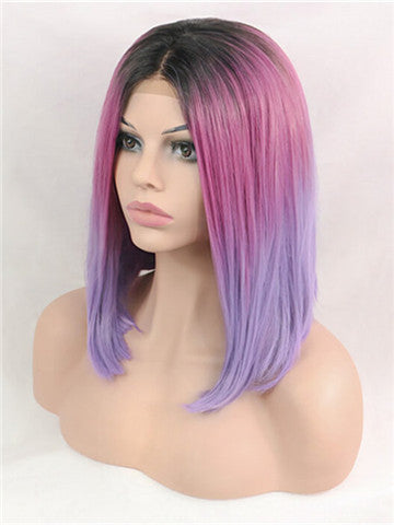 Short Violet Rosemary Mixed Bob Synthetic Lace Front Wig - FashionLoveHunter