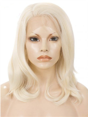 Shoulder Length Ash blonde Bob Synthetic Lace Front Wig - FashionLoveHunter