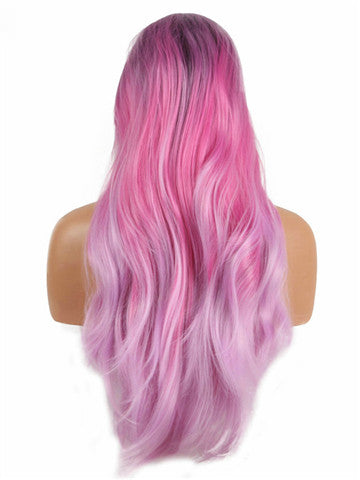 Long Purple Pink Blend Ombre Wave Synthetic Lace Front Wig - FashionLoveHunter