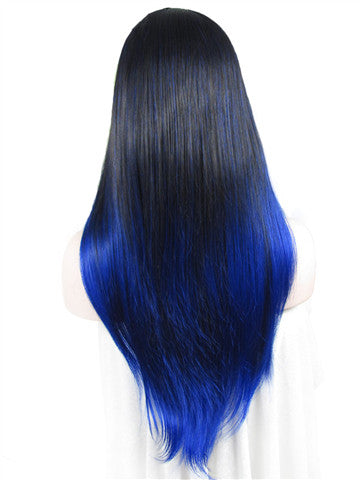 Long Dark Root Blue Highlight Ombre Straight Synthetic Lace Front Wig - FashionLoveHunter