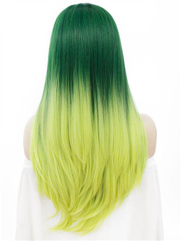 Long Forest Green To Yellow Ombre Straight Synthetic Lace Front Wig - FashionLoveHunter