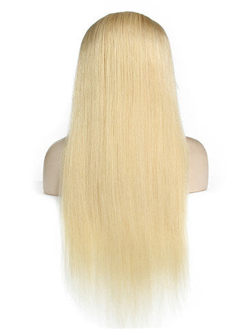 Straight #613 Blonde Stainable Silky Brazilian Remy Lace Front Human Hair Wig