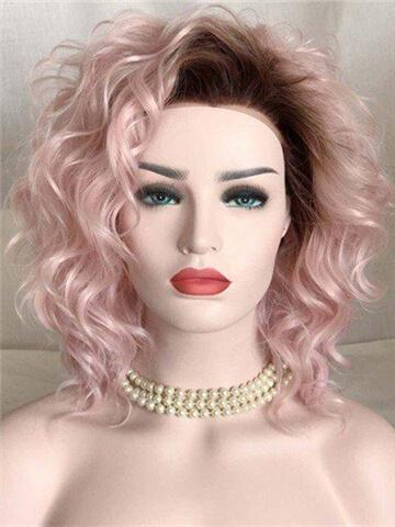 Strawberry Dream Pink Curly Bob Synthetic Lace Front Wig - FashionLoveHunter