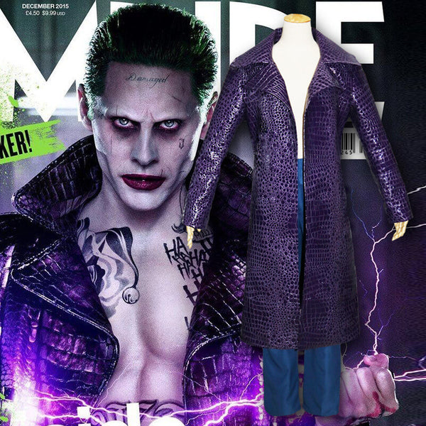 Suicide Squad Cosplay Jared Leto Joker Cosplay Costume Leather Jacket Coat