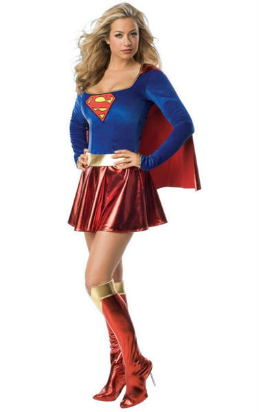 Super girl Sexy Fancy Dress Superman Halloween Cosplay Costume With Boots