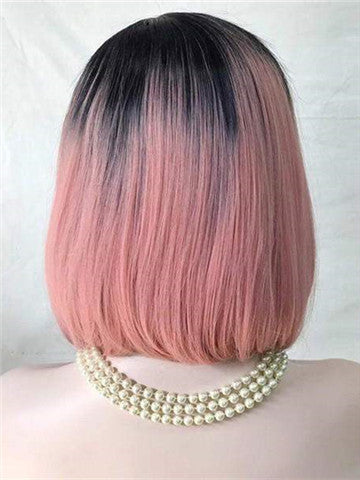 Twisted Dahlia Warm Pink Bob Synthetic Lace Front Wig - FashionLoveHunter