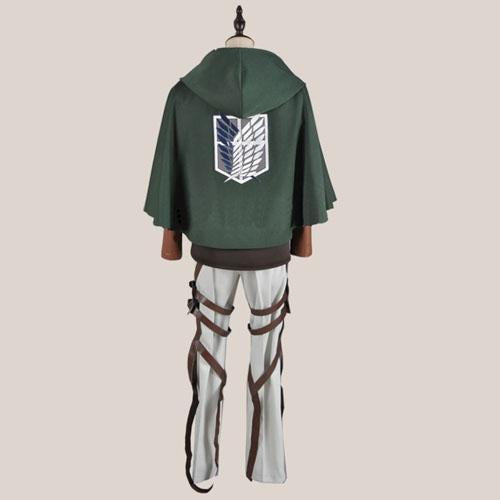 Attack on Titan Rivaille Levi Cosplay Costume and Cloak Cape Full Set