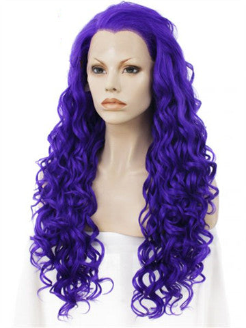Long Violet Purple Spiral Curly Synthetic Lace Front Wig - FashionLoveHunter