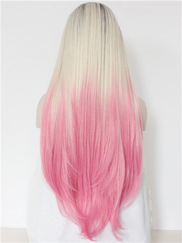 Long Warm Pink Strawberry Milkshake Ombre Synthetic Lace Front Wig - FashionLoveHunter