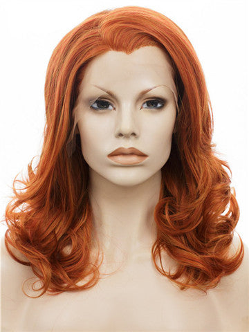 Middle Length Pumpkin Orange Sunset Wave Synthetice Lace front Wig - FashionLoveHunter