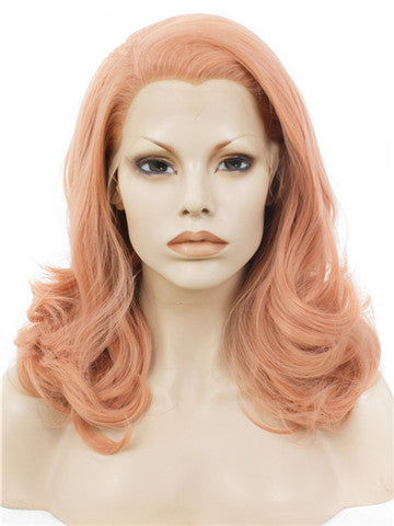 Middle-length Campsis Grandiflora Peach Pink Wave Synthetic Lace Front Wig - FashionLoveHunter