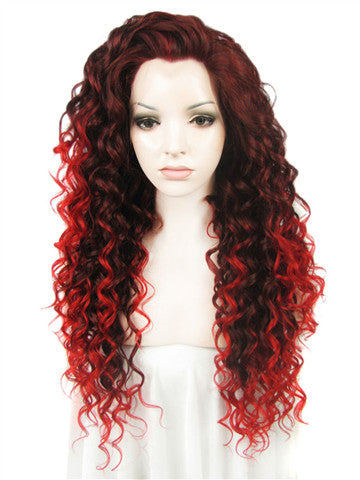 Long Auburn Red Ombre Wavy Curly Synthetice Lace front Wig - FashionLoveHunter