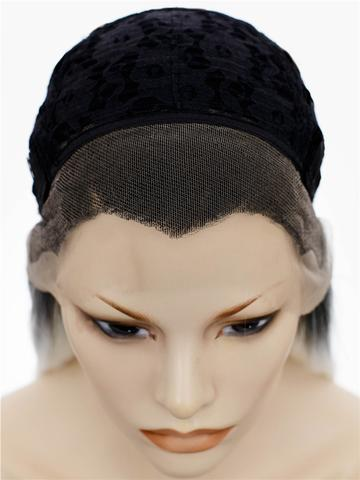 Long Black White Ombre Synthetic Lace Front Wig - FashionLoveHunter