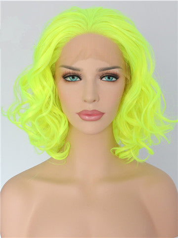 Short Bright Yellow Wave Bob Synthetic Lace Front Wig - FashionLoveHunter