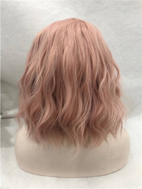 Short Coral Pink Wave Synthetic Lace Front Wig