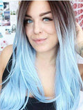 Long Black To Sky Blue Ombre Straight Synthetic Lace Front Wig - FashionLoveHunter