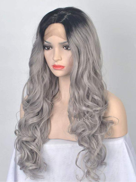 BLACK TO GREY OMBRE WAVY SYNTHETIC LACE FRONT WIG - FashionLoveHunter