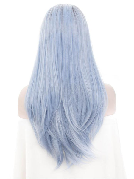 Long Azure Blue Synthetic Glueless Lace Front Wigs - Imstylewigs