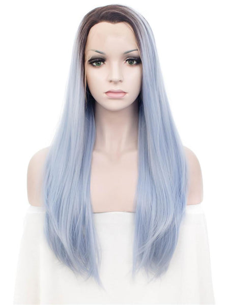 Azure Blue Long Straight Synthetic Glueless Lace Front Wigs - Imstylewigs