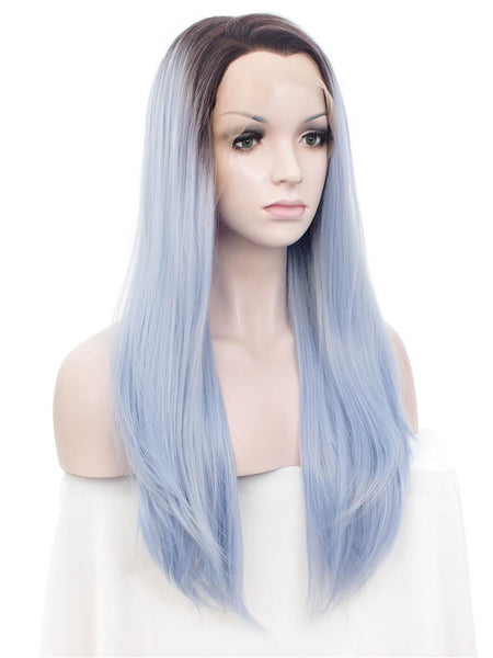 Long Azure Blue Straight Synthetic Glueless Lace Front Wigs - Imstylewigs