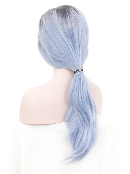 Azure Blue Long Straight Glueless Lace Front Wigs - Imstylewigs