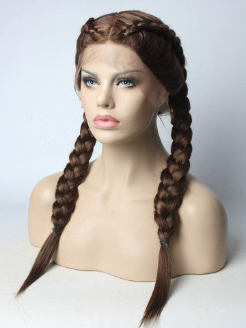 Long Braided Chocolate Brown Synthetic Lace Front Wig - FashionLoveHunter