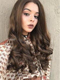Long Medium Ash Brown Wavy Synthetic Lace Front Wig