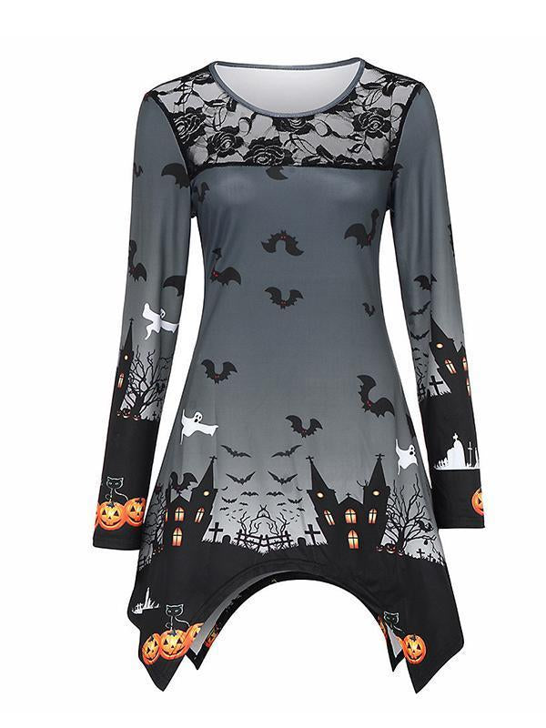 Halloween Lace Stitching Print Top