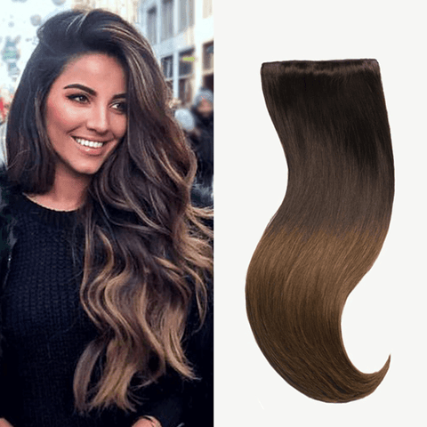 "20"" 9 Pieces Ombre Chestnut #T1C6 Clip In Virgin Human Hair Set Extension"