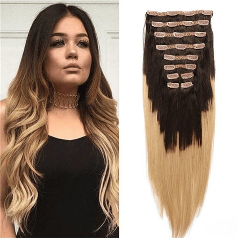 "20"" 10 Pieces Ombre Brown #1B27 Clip In Virgin Human Hair Set Extension"
