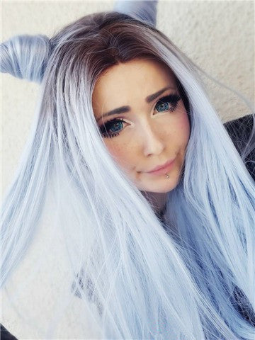 Long Black To Sky Blue Ombre Straight Synthetic Lace Front