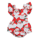Baby Girl Fly Sleeve Santa Print Christmas Romper Infant Clothes
