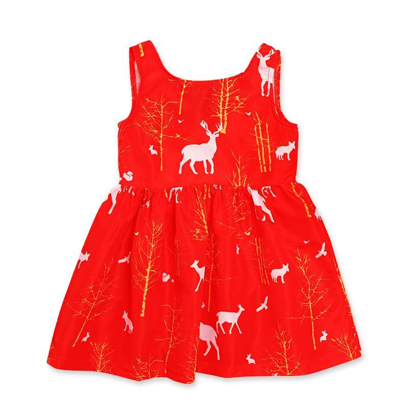 Christmas Girls Short Sleeve Elk Print Swing Dress