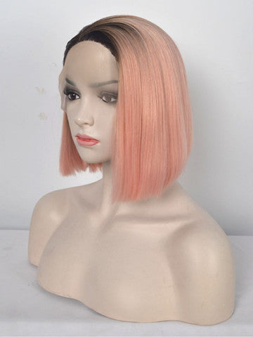 Short Minium Pink Bob Ombre Synthetic Lace Front Wig - FashionLoveHunter