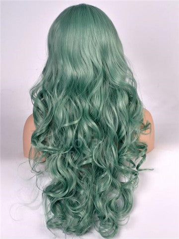 Long Emerald Green Wavy Synthetic Lace Front Wig - FashionLoveHunter