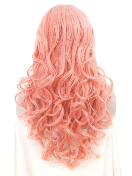 Coral Pink Long Wavy Glueless Lace Front Wigs - Imstylewigs