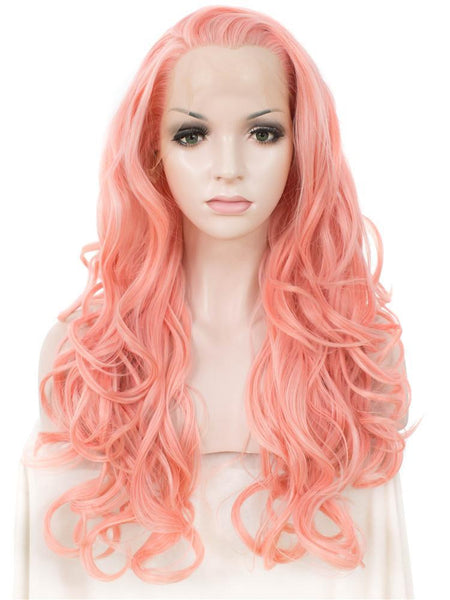 Coral Pink Long Wavy Synthetic Lace Front Wigs - Imstylewigs